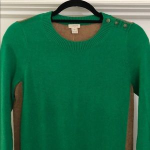 J Crew Green Two Toned Sweater